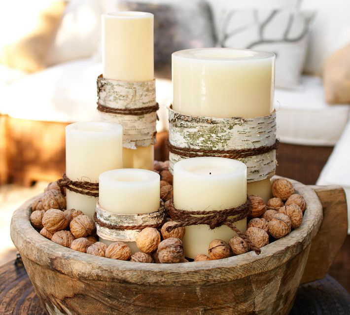 Birch candle centerpiece