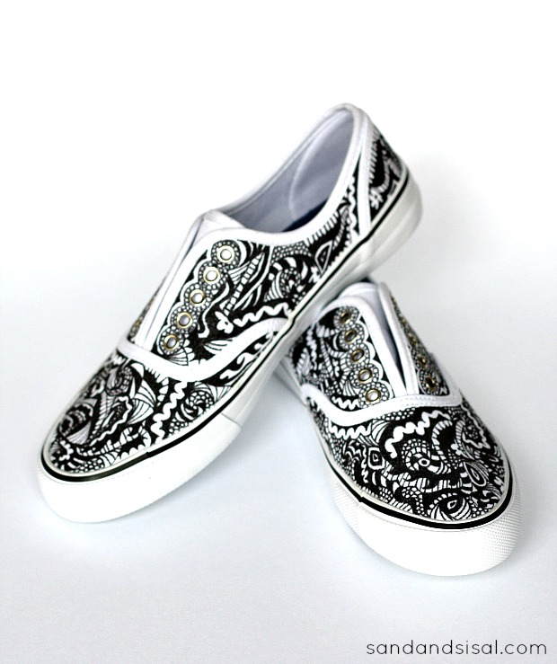e595722f6431 Customized designer looking canvas shoes! Black and White Doodled Shoes