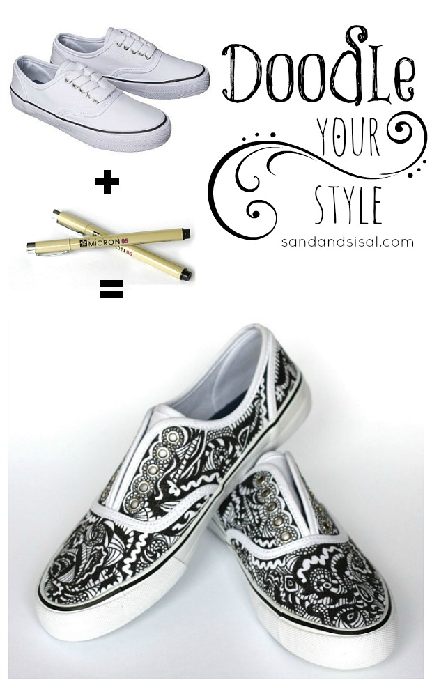 Doodle Your Style - Zentangle Decorated Canvas Shoes