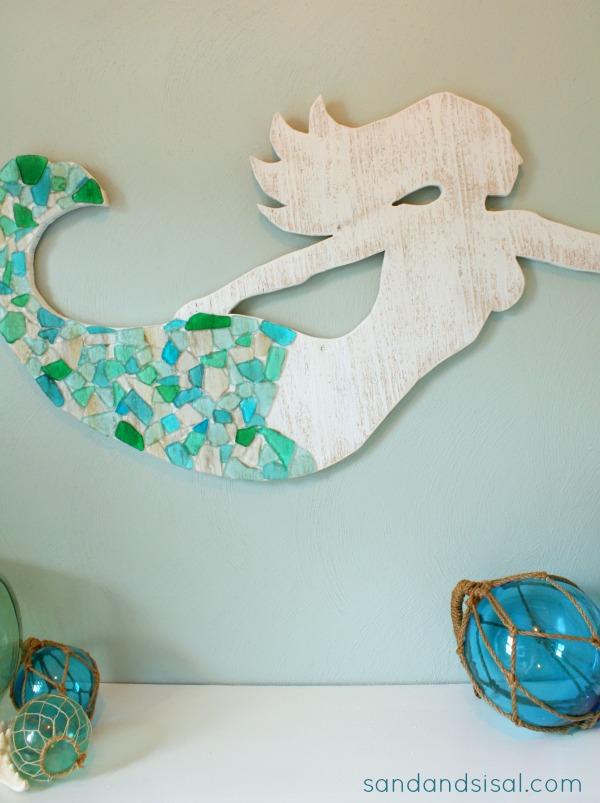 DIY Cedar and Seaglass Mermaid Art