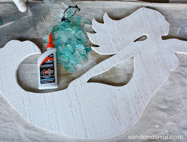 DIY cedar and seaglass mermaid