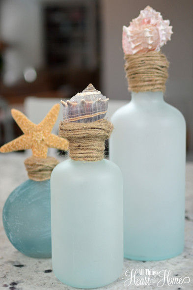 Shell Topped Bottles Sand And Sisal