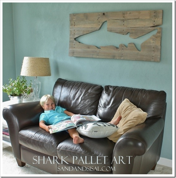 Shark Pallet Art Sand And Sisal