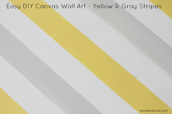 Marvelous Easy DIY Canvas Wall Art Yellow and Gray Stripes