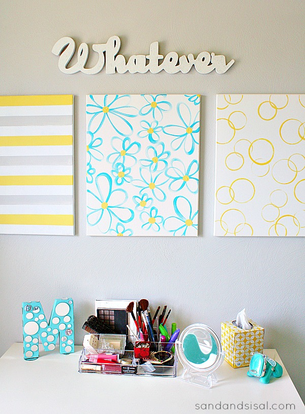 Easy DIY Wall Art - Yellow + Gray + Turquoise #HelloBeautiful