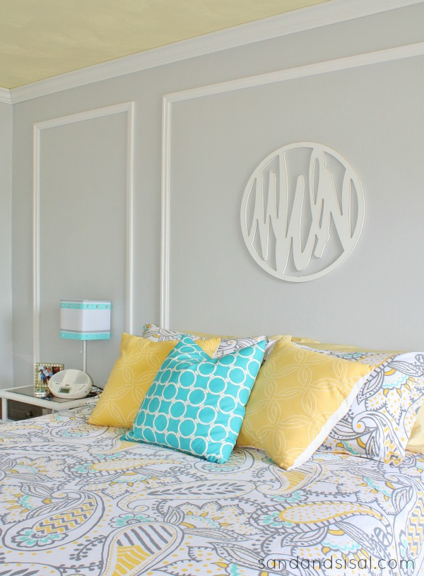 Gray + Yellow + Turquoise Teen Bedroom #HelloBeautiful