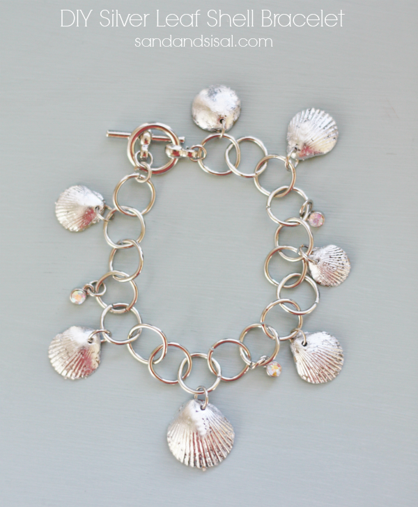 Diy silver leaf shell bracelet sand and sisal for Shell diy