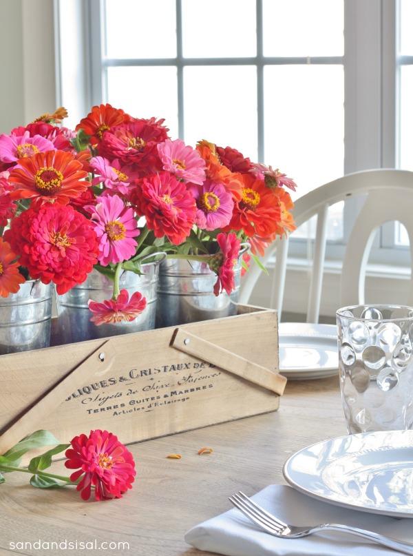 Early Fall Tablescape - zinnias