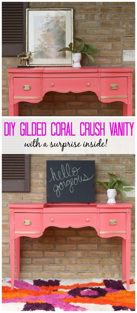 Gilded Coral Vanity Table