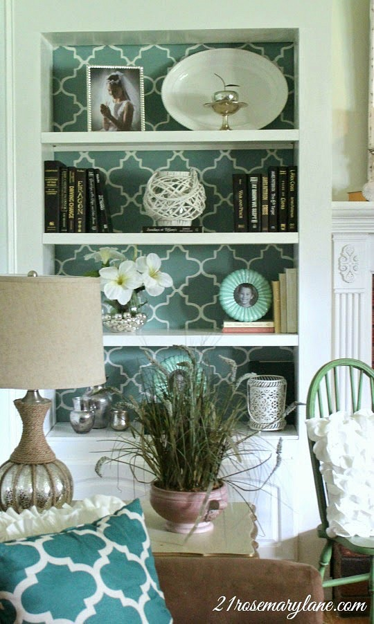 How to Stencil a Bookcase Wall