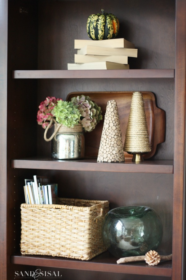 Bookcases decorated for fall