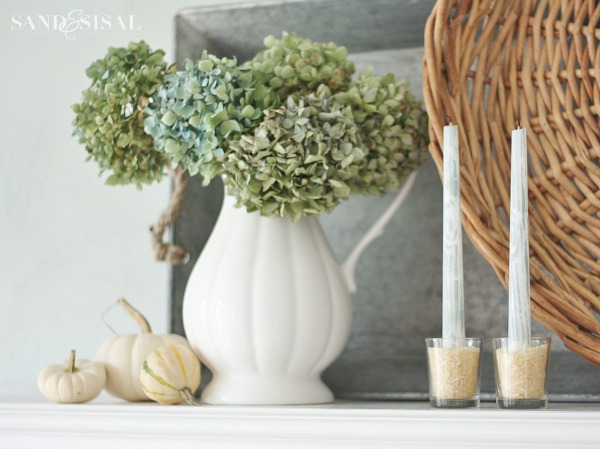 Dried Hydrangeas and White Pumpkins - beautiful fall decorating using natural elements