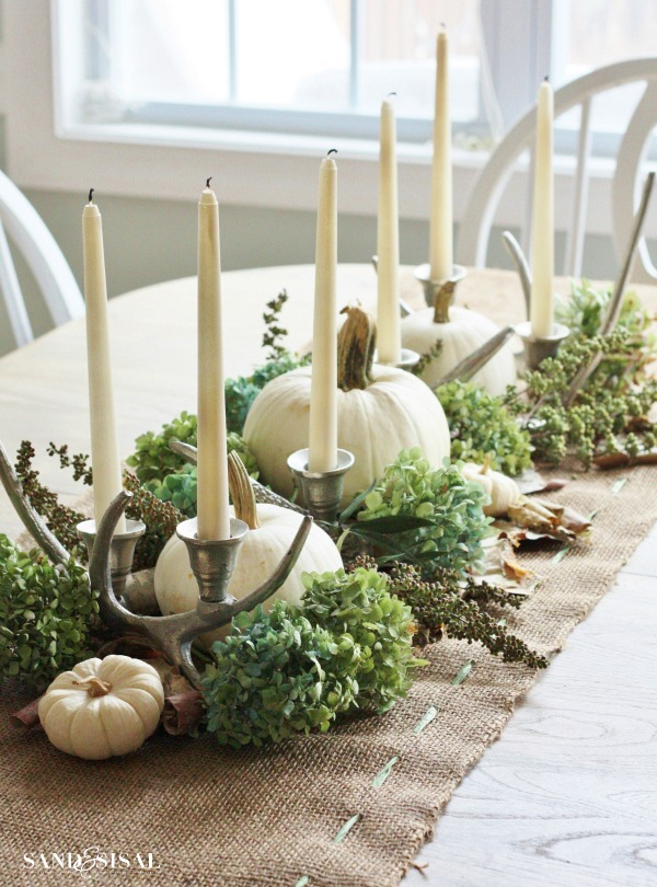 Fall Centerpiece with Easy Burlap Table Runner