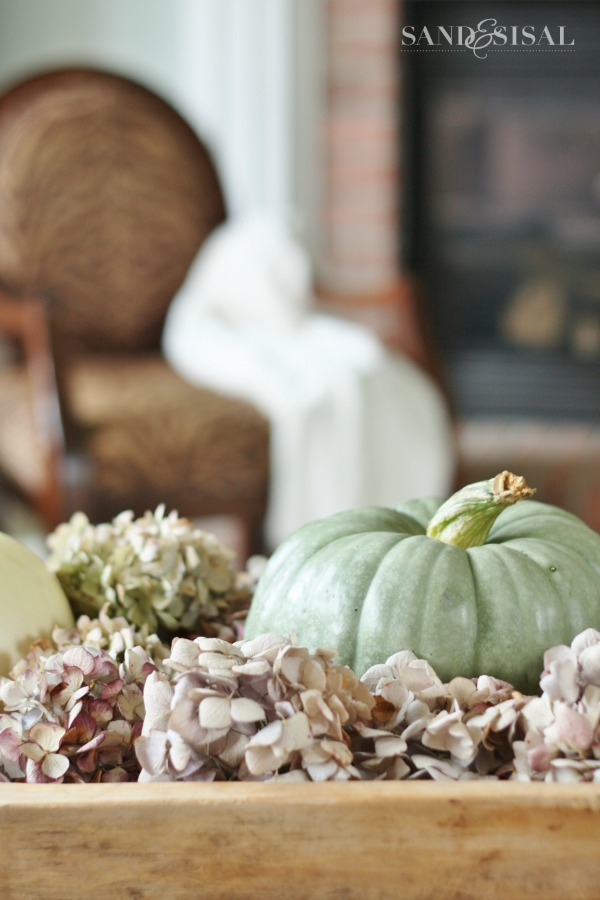 Neutral Fall Decorating - Green pumpkins and dried hydrangeas - fall home tour
