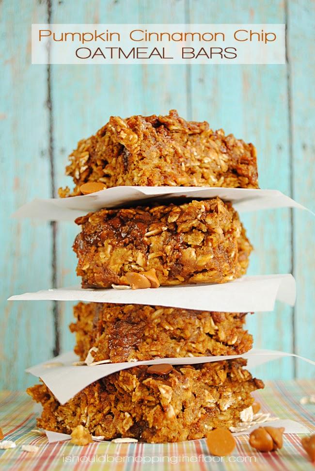 Pumpkin Cinnamon Chip Oatmeal Bars