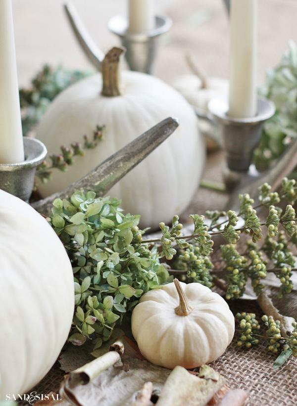 White pumpkin centerpiece sand and sisal for Sisal decoration