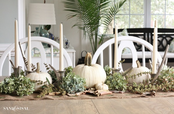 White Pumpkin Fall Centerpiece