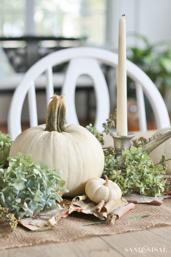 White Pumpkin and Hydrangea Centerpiece