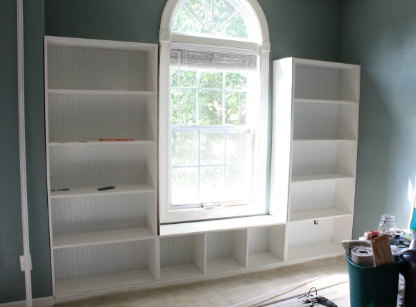 DIY Built-in Bookcases without decorative trim