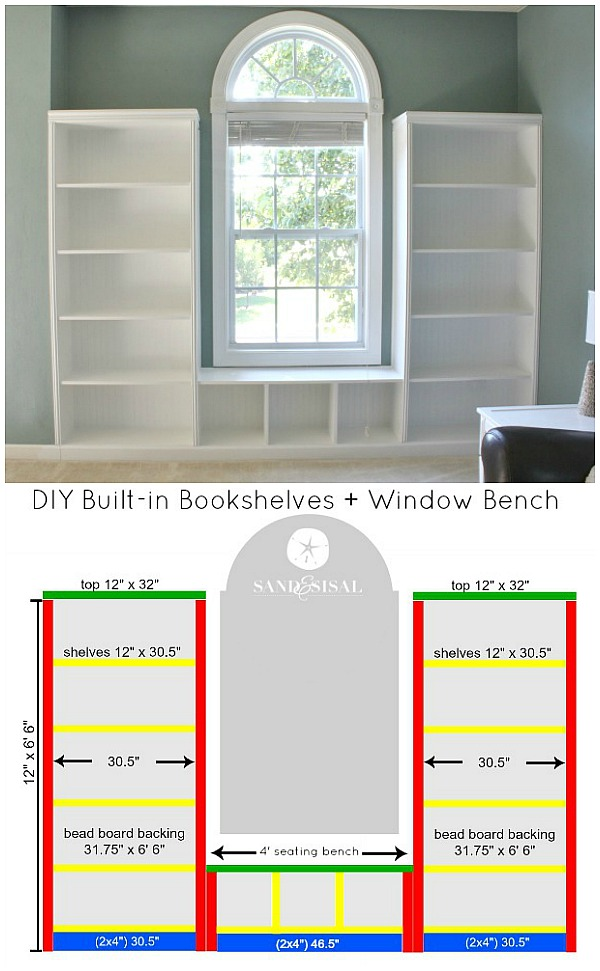 DIY Built-in Bookshelves + Window Bench Plans with beadboard and rope trim molding. #3MDIY #3MPartner