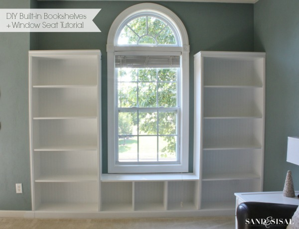 diy built in bookshelves with window bench tutorial 3mdiy 3mpartner - Built In Bookshelves Diy
