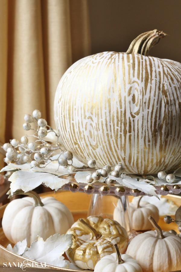 Gilded Faux Bois (wood grain) Pumpkin