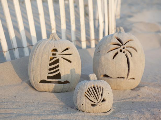 Sand Coated Coastal Pumpkins