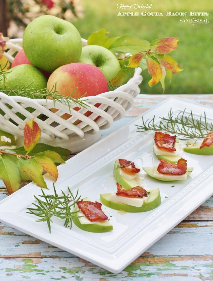 Thanksgiving Appetizer - Honey Drizzled Apple Gouda Bacon Bites