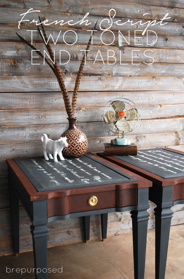 wo Toned French Script End Table Makeover