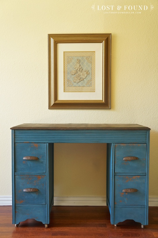 Two Toned Furniture Makeover in Blue Milk Paint