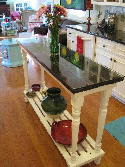 Two Toned Kitchen Island Made from Piano Parts