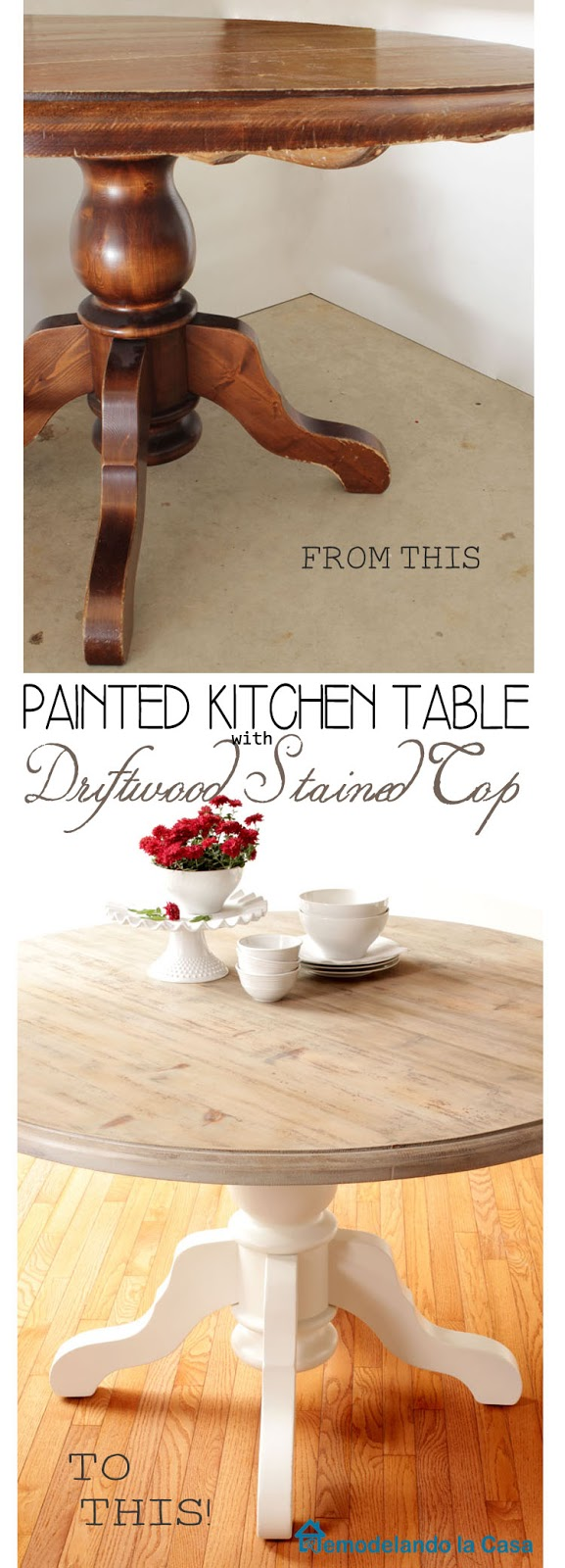 driftwood kitchen table top makeover