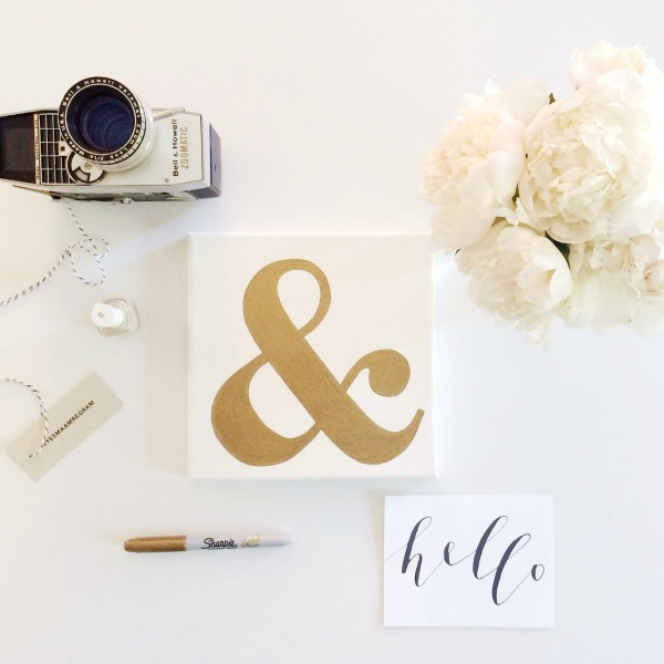 DIY Gold Foil Ampersand Canvas