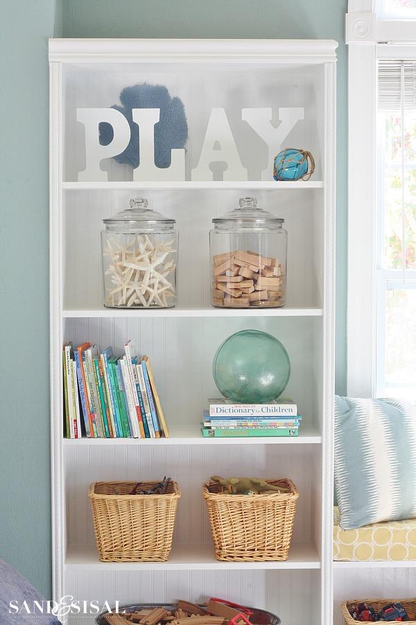 Playroom Built-in Bookshelf Makeover