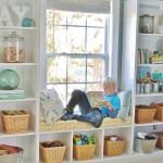 Playroom Built-in Bookshelves + Window Seat