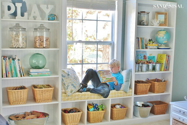 Playroom Built-in Bookshelves + Window Seat