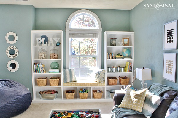 Playroom Storage Ideas - DIY Built-in Bookshelves with Seating Bench