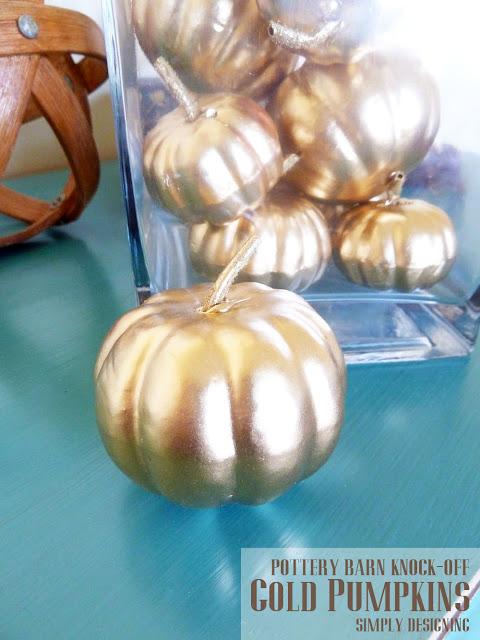 pottery barn knock off Gold Pumpkins