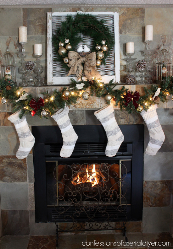 Two Turtle Doves Christmas Mantel