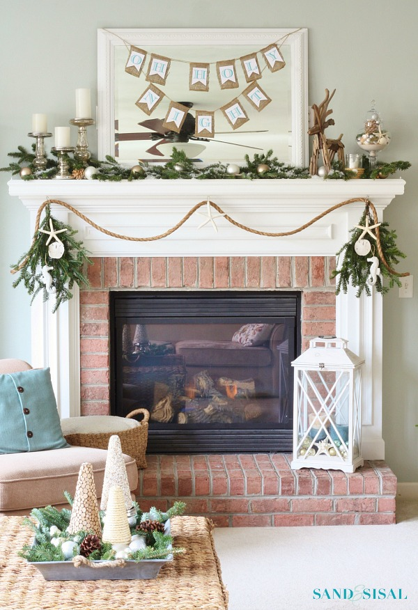 Coastal christmas home tour part 1 sand and sisal for Sisal decoration
