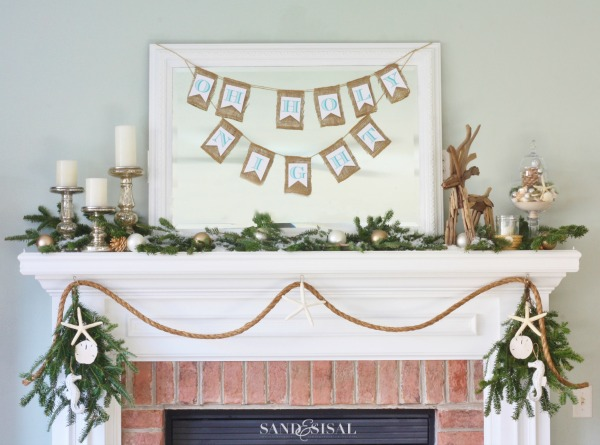 Coastal Christmas Mantel - Oh Holy Night Banner