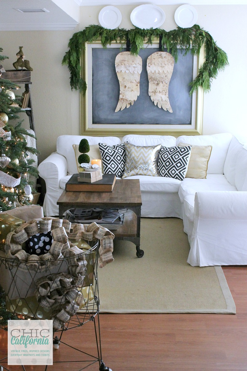 diy birch bark angel wings - Christmas Wall Art Decor