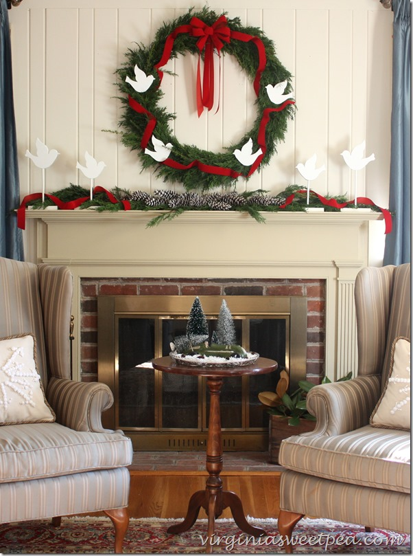 Rustic Christmas Mantel With Pallet Project Via Provident Home Design