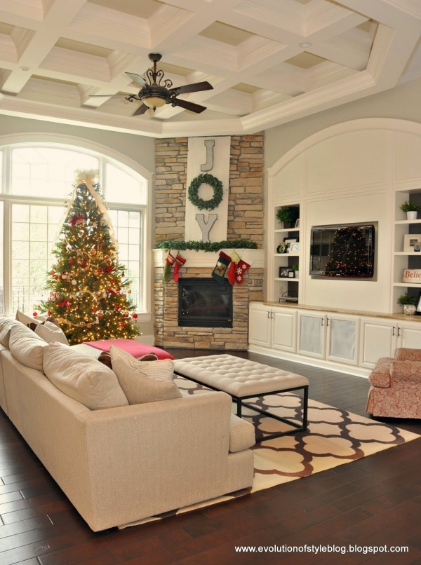 Joy Wreath Christmas Mantel Via Evolution Of Style