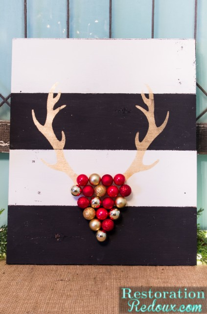 Stenciled-Antler-Ornament-Art