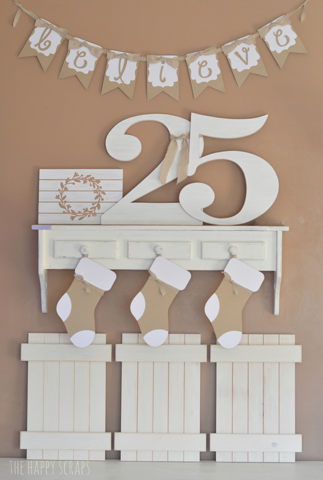 white christmas decor and wreath slat sign tutorial