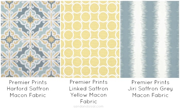 Yellow and blue fabric combinations