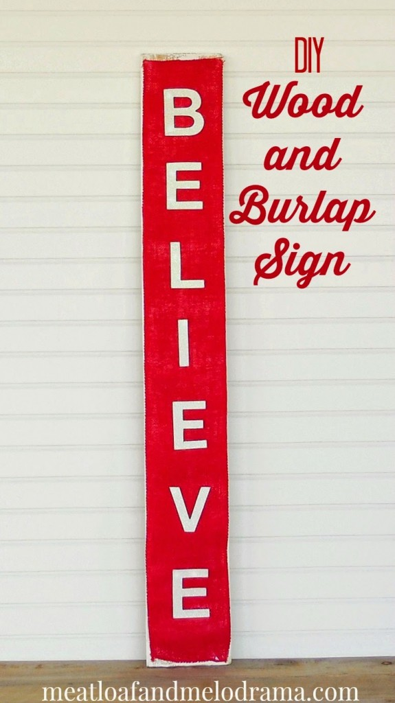 diy wood and burlap Believe Sign