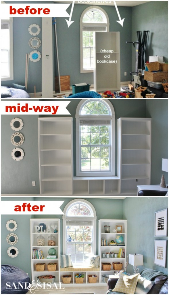 Progession of playroom Built-ins