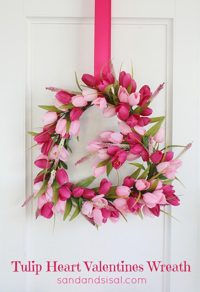 Tulip Heart Valentines Wreath